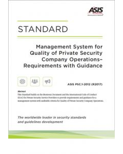 Management System for Quality of Private Security Company Operations Standard (Softcover)